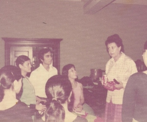 Alura Flores de Angeles teaching students from El Grupo de Danza y Arte Folklorico de la Universidad de Tejas  en Austin  in 1972. Pictured are faculty advisor Sanjuanita Martinez-Hunter Ph.D., and Roy Lozano. Photo courtesy of Sanjuanita Martinez-Hunter Ph.D.
